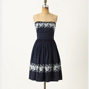 Anthropologie strapless embroidered a-line dress